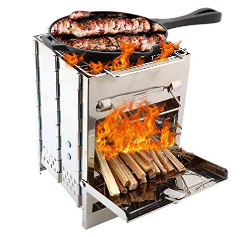 HAHALE Mini Outdoor BBQ Grill Holzofen Camping Kochen Picknick Reise Edelstahl-Quadrat Holzofen Kohle Folding Grill