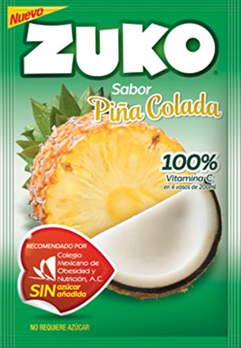 3 X ZUKO PINA COLADA Flavor No Sugar Needed Makes 2 Liters of Drink 15g From Mexico