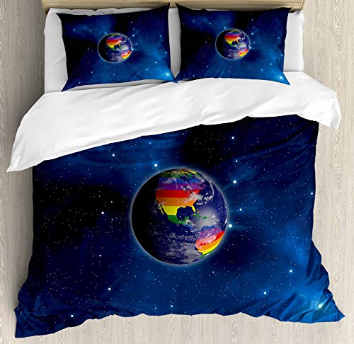 Pride Duvet Cover Set, Earth from Space with Continents in The LGBT Colors Universal Worldwide Love Freedom, Decorative 3 Piece Bedding Set with 2 Pillow Shams, Blue