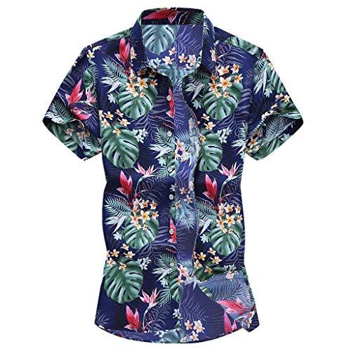 Yowablo Herren Hemd Hawaiihemd Freizeithemd Kurzarm Hemd Herren Kurzarm (L,5Mehrfarbig)