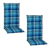 Beo Gartenstuhlauflagen Hochlehner UV-beständig Barcelona   Made in EU nach Öko-Tex Standard   Hochlehner Auflagen 2er Set waschbar   Atmungsaktive Stuhlauflagen Hochlehner in Blau-Grün Kariert