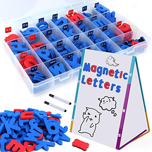 INNOCHEER Classroom Magnetic Letters and Numbers Kit with Easel Board, Educational Foam Alphabet ABC Magnets for Preschool Kids Spelling and Learning (199pcs in Box)