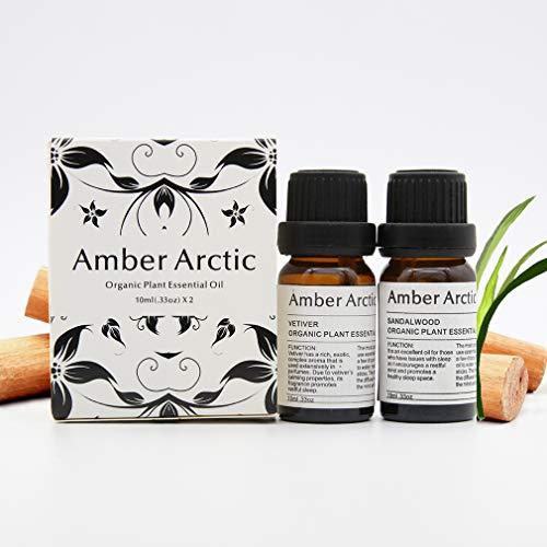 Amber Arctic Vetiver Sandelholz ÄTherisches ÖL für Diffusor, 100% Reines Frisches Bio-Pflanzentherapie Vetiver SandelholzöL 10Mlx2