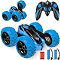Remote Control car,2.4GHz Electric Race Stunt Car,Double Sided 360° Rolling Rotating Rotation, LED Headlights RC 4WD High Speed Off Road for 3 4 5 6 7 8-12 Year Old Boy Toys (Blue) by KKONES