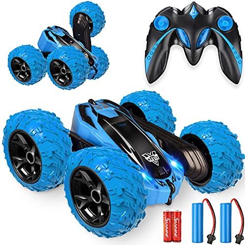 Remote Control car,2.4GHz Electric Race Stunt Car,Double Sided 360° Rolling Rotating Rotation, LED Headlights RC 4WD High Speed Off Road for 3 4 5 6 7 8-12 Year Old Boy Toys (Blue)