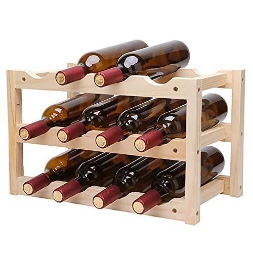 Botellero de Madera, Soporte de exhibición de 12 Botellas, botellero de Madera Plegable, Estante para Botellas de Licor de Bebidas alcohólicas, para encimeras de Cocina