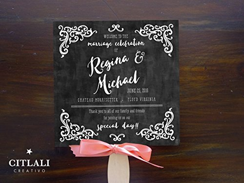 10qty Chalkboard Style Vintage Flourish Wedding Programs with Wooden Handle