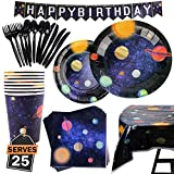 177 Artículos con Diseño del Espacio y Galaxia-Desechables para Fiesta y Celebración de Cumpleaños Espacial – Vasos, Platos, Servilletas,...