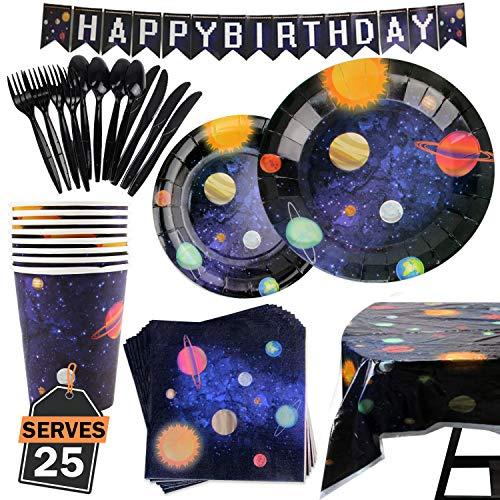 Kompanion 177-teiliges Weltraum Party Zubehör Set einschließlich Banner, Teller, Becher, Servietten, Tischdecke, Löffel, Gabel und Messer, für 25