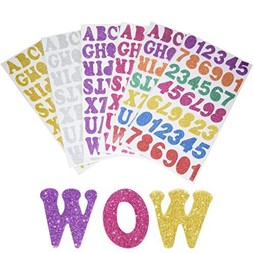 Pegatinas de espuma con letras de alfabeto brillantes y coloridas autoadhesivas, número y letras, para decoración de manualidades, 6 hojas, total de 248 unidades