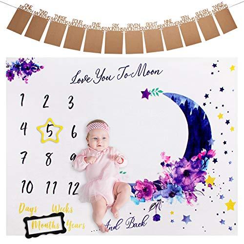 Manta para Bebé Recién Nacido, ANSUG Franela Bebé Manta Mensual Hito Fondo de Fotografía con Banner de Foto y Marco para Niños Niñas Baby Shower