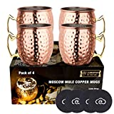 LIVEHITOP Moscow Mule Set 4 Bicchieri Rame, 530ml Tazze Rame con Coaster Accessori per Cocktail, Bevanda Fredda, Festa, Bar (Pack of 4)