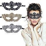 TreatMe Masquerade Mask - 3 Pack Women Venetian Mask Pretty Elegant Lady Masquerade Halloween Mardi Gras Party (Black+Gold+Sliver A)