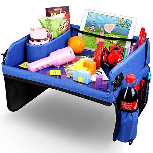 Amzdeal Kinder Reisetisch - Einstellbar und Tragbar Kindersitz Spieltisch mit Transparenter Zeichnungsfilm und größer Aufbewahrungsbeutel, als Reisetablett für Auto Kinderwagen Flugzeug, Blau