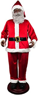 HA Singing Life Size Animated African American / Black Santa Claus Figure, 6 Feet Tall