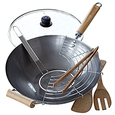 IMUSA USA WPAN-10022 Complete Wok Set 7-Piece, Black