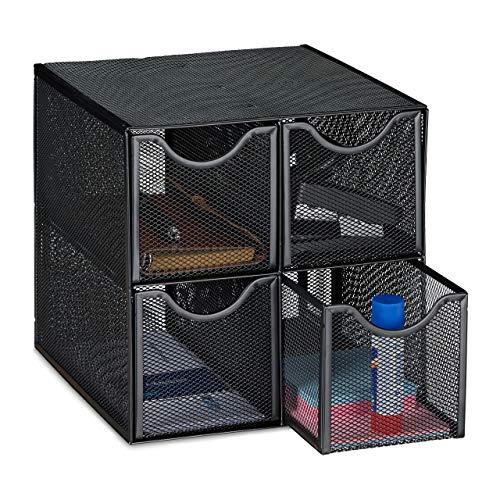 Relaxdays Schreibtisch Organizer, 4 Schubfächer, Mesh-Optik, platzsparend, Stahl, Sortierbox 25 x 25 x 25 cm, schwarz, 1 Stück