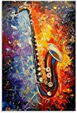 Kit De Pintura De Diamantes 5d Imagen y estética de aceite de saxofón Diy Diamond Painting Bordado Punto Cruz Manualidades Para 19.7'x27.6'(50x70cm) Sin Marco