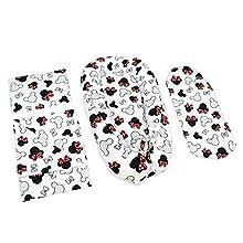 Cuna Nido Bebe Recien Nacido 90x50 cm Algodón - Reductor de Cuna Cocoon de 4 partes con almohada plana tipo manta y Almohada Motivos de Ratón