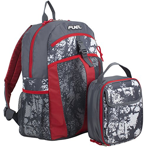 Fuel Backpack & Lunch Bag Bundle, Poppy Red/Gray Flannel/Destruction Print