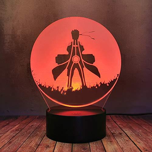 Naruto Luz de Noche Guapo Uzumaki 3D LED Lámpara de Escritorio Japón Caliente Anime Creativo Colorido Decoración de Mesa Hogar Kid Dormitorio Flash Baby Sleep Tienda de Regalo para Fiesta de