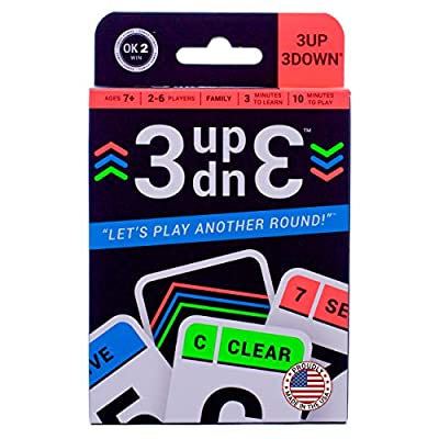 Ok2Win 3UP 3DOWN Card Game | Best Fun Family Games for Kids, Teens, Adults | 2-6 Players/Deck ? Up to 12 Players with 2 Decks ? Make Road Trips, Camping, Beach Time, Summer Camp, Family Time Exciting