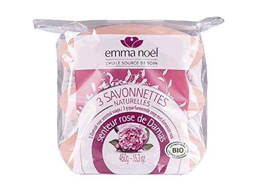 Emma Noël Savonnette parfumée Rose de Damas Cosmébio - Sachet de 3 X 150g soit 450g