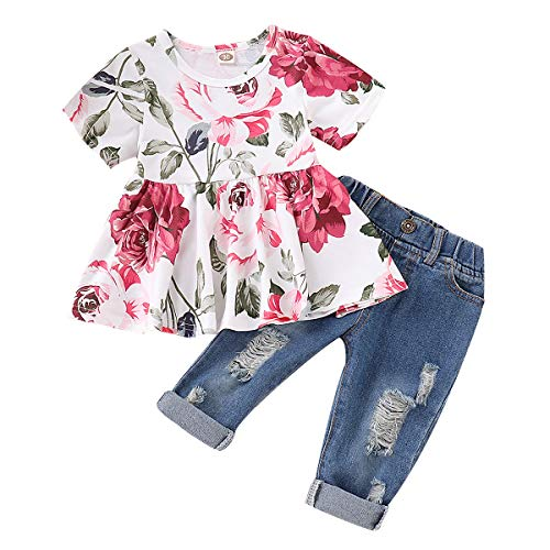 CARETOO 2Pcs Girls Clothes Outfits, Baby Girl Flower Floral Short Sleeve Shirt Tops+ Ripped Jeans Denim Pants Sets
