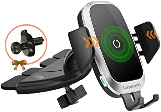 Wireless Car Charger CD Mount, Auto Clamping CD Player Phone Mount Air Vent Qi Charger Compatible with 11 Pro XS Max XR X ...
