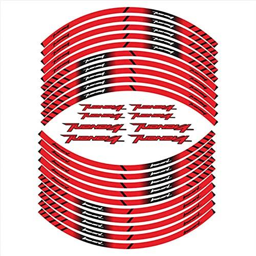 Pegatinas de neumáticos de la Motocicleta Decoración Reflectante de la Rueda Interna Calcomanías para Aprilia Tuonov4 Tuono V4 (Color : 1)