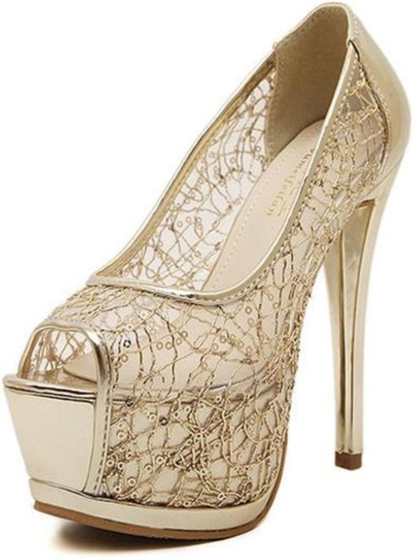 IINFINE Women's Fashion Peep Toe Lacing Pump High Heel Platform Satin Cover Dress Shootie with Flatback Crystals