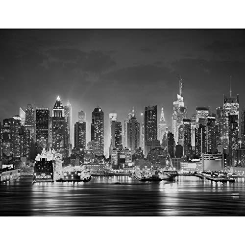 Fototapete New York bei Nacht Vlies Wand Tapete Wohnzimmer Schlafzimmer Büro Flur Dekoration Wandbilder XXL Moderne Wanddeko - 100% MADE IN GERMANY - Schwarz Weiß Runa Tapeten 9177010c