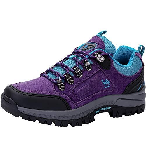 CAMEL CROWN Zapatos de Senderismo para Mujer Zapatillas de Escalada Calzado de Ante para Alpinismo, Zapatos de Excursionismo para Actividades al Aire Libre, Excursionismo