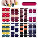 MWOOT 8 Hojas Pegatinas de Esmalte de Uñas con Lima de Uñas,Brillo de Color Sólido Full Cover Nail Art Stickers, Etiqueta Engomada Uñas Autoadhesivas para Uñas Decoración