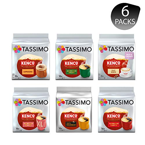 Tassimo Kenco Lovers Coffee Bundle - Kenco Cappuccino/Decaf/Flat White/Americano Grande/Colombian/Americano Smooth - 6 Packungen (80 Portionen)