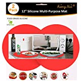 Silicone Microwave Mat 12 Inch, Non Stick Turntable Mat for Kitchen, BPA Free Multi-Purpose Heat Resistant Oven Mat 2 Pack (Red)