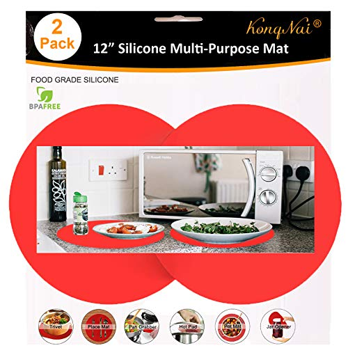 Silicone Microwave Mat 12 Inch, Non Stick Turntable Baking Mat for Kitchen, BPA Free Multi-Purpose Heat Resistant Oven Mat 2 Pack (Red)