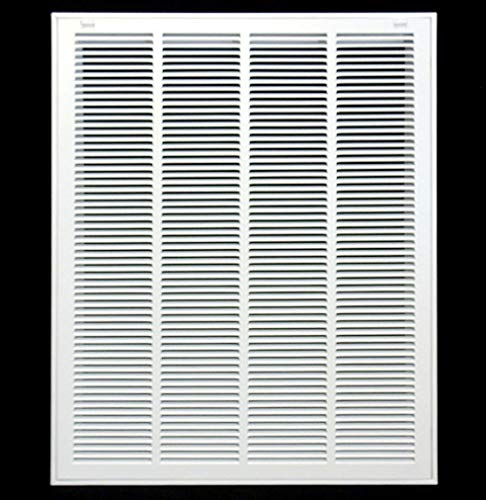 20' X 30' Steel Return Air Filter Grille for 1' Filter - Removable Face/Door - HVAC Duct Cover - Flat Stamped Face -White [Outer Dimensions: 21.75w X 31.75h]