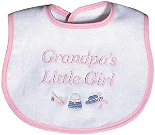 Raindrops Grandpa's Little Girl Embroidered Bib, Pink
