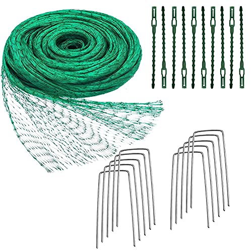 Red de protección para pájaros verde, 4 x 10 m, red para jardín, red para plantas con 10 clavijas...