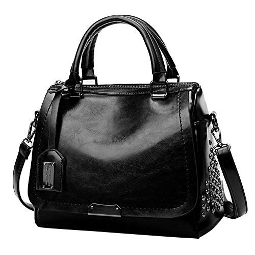 Women Fashion Solid Rivet Cover Crossbody Bag Messenger Bag Totes Black