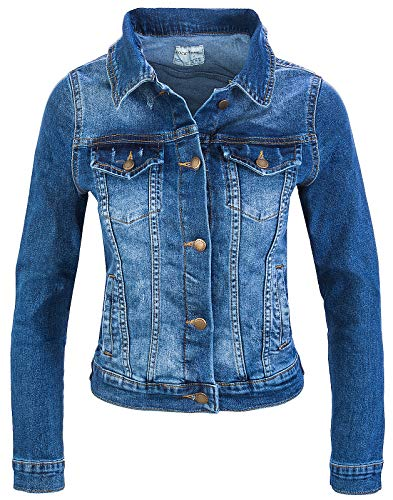 Rock Creek Damen Jeans Jacke Übergangs Jacke Denim Blouson Stretch Kurz Classic Jeansjacken Urban Stonewash D-401 Dunkelblau XL