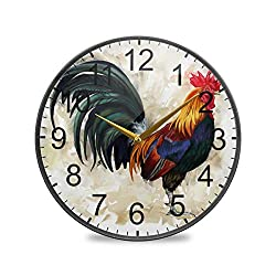 XiangHeFu Quartz Analog Quiet Funny Animal Cock Rooster Wall Clock Desk Clock Gift Non-Ticking Battery Operated Living Room