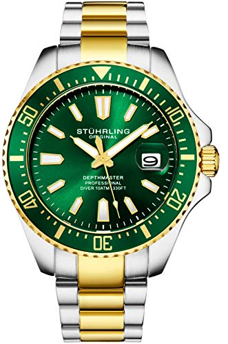 Stuhrling Original Watches for Men - Pro Diver Watch - Sports Watch for Men with Screw Down Crown for 330 Ft. of Water Resistance - Analog Dial, Quartz Movement (Green/Gold)