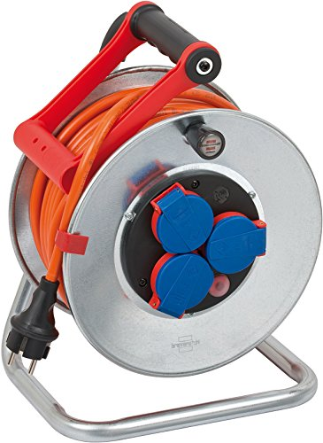 Brennenstuhl Garant S IP44 Kabeltrommel (25m Kabel in orange, Stahlblech, Einsatz im Außenbereich, Made in Germany)