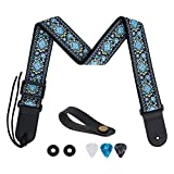tifanso Guitar Strap Jacquard Weave Guitar Strap with Genuine Leather Ends - Soft Adjustable Acoustic Guitar Strap for Electric Bass, Come With Strap Button, 1 Pair Strap Locks and 3 Guitar Picks