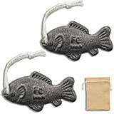 YOUIN A Natural Source of Iron to Reduce The Risk of Iron Deficiency, 2 Packs Iron Fish with Burlap Bag - A Effective Add Safe Iron to Food Cooking Tool, Ideal For Pregnant Women, Vegans and Athletes