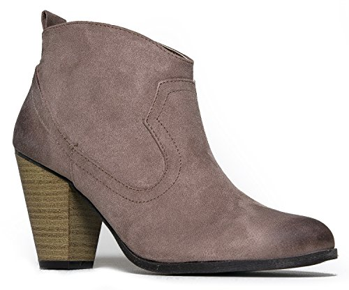 Western Slip On Stacked Heel Bootie - Distressed Ankle Pull Cowboy Women's Boot Taupe