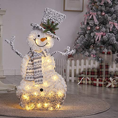 UALSD Light Up Snowman/Reindeer/Christmas Tree Santa Figure Led Light Iron Frame Warm White Metal Iron Frame Flannel Indoor Outdoor Christmas Decorations snowman