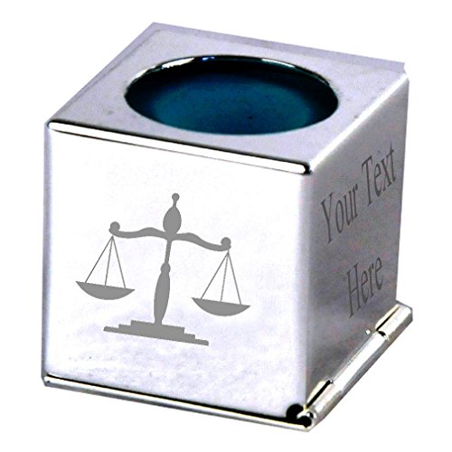 APS Cufflinks - Select Gifts Gesetz Waage Gerechtigkeit–Personalisierter Gravur Silber Snooker Pool Kreide Halter Fall
